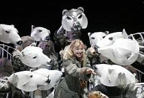 'HIS DARK MATERIALS' (Philip Pullman, adapted by Nicholas Wright - directed by Nicholas Hytner & Matt Wilde),Elaine Symons (Lyra Belacqua) with Armoured Bears,Olivier Theatre / National Theatre, Londo...