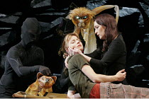 'HIS DARK MATERIALS' (Philip Pullman, adapted by Nicholas Wright - directed by Nicholas Hytner & Matt Wilde),l-r: Elaine Symons (Lyra Belacqua), Lesley Manville (Mrs Coulter) with Pantalaimon (Lyra's...