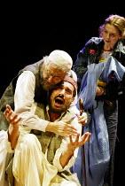 'HOMEBODY/KABUL' (Kushner) l-r: Nadim Sawalha (Kwaja Aziz Mondanabosh), Silas Carson (Zai Garshi/Munkrat/Marabout), Jacqueline Defferary (Priscilla Ceiling) Young Vic Theatre, London SE1...