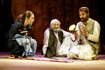 'HOMEBODY/KABUL' (Kushner) l-r: Jacqueline Defferary (Priscilla Ceiling), Nadim Sawalha (Kwaja Aziz Mondanabosh), Silas Carson (Zai Garshi/Munkrat/Marabout) Young Vic Theatre, London SE1...