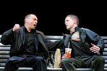 'HOWARD KATZ' (Marber)~l-r: Ron Cook (Howard Katz), Russell Tovey (Robin)~Royal National Theatre/Cottesloe Theatre, London SE1  13/06/2001