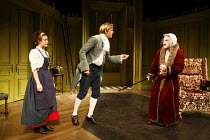 THE HYPOCHONDRIAC   by Moliere   in a new version by Richard Bean   director: Lindsay Posner,l-r: Lyndsey Marshal (Toinette), Henry Goodman (Argan), Kris Marshall (Cl�ante),Almeida Theatre, London N1...