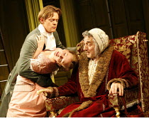 THE HYPOCHONDRIAC   by Moliere   in a new version by Richard Bean   director: Lindsay Posner,l-r: Kris Marshall (Cl�ante), Carey Mulligan (Ang�lique), Henry Goodman (Argan),Almeida Theatre, London N1...