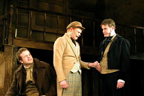 'NICHOLAS NICKLEBY' (Part 1) (David Edgar after Dickens)~l-r: Rafe Spall (Squeers), Richard Riddell (Wackford Squeers), Felix Scott (Ralph Nickleby)~National Youth Theatre/Lyric Theatre Hammersmith, L...