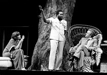 NIGHT AND DAY  by Tom Stoppard  design: Carl Toms  lighting: Robert Bryan  director: Peter Wood <br> ~l-r: Diana Rigg (Ruth Carson), Olu Jacobs (President Mageeba), John Thaw (Dick Wagner)~Phoenix The...