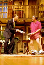 'NOISES OFF' (Frayn) ~l-r: Aden Gillett (Garry Lejeune), Jeff Rawle (Frederick Fellowes)~RNT/Lyttelton Theatre   London  05/10/2000