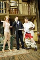 'NOISES OFF' (Frayn)   (director: Jeremy Sams)~l-r: Tilly Gaunt (Brooke Ashton), James Albrecht (Garry Lejeune), Paul Bradley (Frederick Fellowes)~Piccadilly Theatre, London W1                13/08/20...