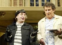'NOISES OFF' (Frayn)   (director: Jeremy Sams)~l-r: Sylvester McCoy (Selsdon Mowbray), Paul Bradley (Frederick Fellowes)  ~Piccadilly Theatre, London W1                13/08/2003...