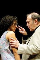 'ONE FOR THE ROAD' (Pinter),Indira Varma (Gila), Harold Pinter (Nicolas),Gate Theatre Dublin production/New Ambassador's Theatre, London WC2   04/07/2001,
