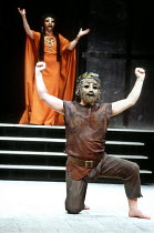 Clytemnestra and Herald in THE ORESTEIA by Aeschylus at the Olivier Theatre, National Theatre (NT), London SE1 28/11/1981 ~in a version by Tony Harrison  design: Jocelyn Herbert assisted by Sue Jenkin...
