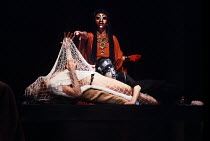 Clytemnestra (rear), Agamemnon (in net) and Cassandra in THE ORESTEIA by Aeschylus at the Olivier Theatre, National Theatre (NT), London SE1 28/11/1981 ~in a version by Tony Harrison  design: Jocelyn...