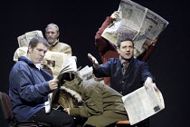'THE PERMANENT WAY' (David Hare - director: Max Stafford-Clark   designer: William Dudley)~crowded commuters:   left - Lloyd Hutchinson   right - Matthew Dunster~Out of Joint / National Theatre co-pro...
