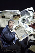 'THE PERMANENT WAY' (David Hare - director: Max Stafford-Clark   designer: William Dudley)~crowded commuters: Lloyd Hutchinson   ~Out of Joint / National Theatre co-production    Theatre Royal, York...
