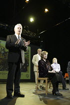 'THE PERMANENT WAY' (David Hare - director: Max Stafford-Clark   designer: William Dudley)~l-r: Ian Redford, Sam Graham, Kika Markham, Bella Merlin~Out of Joint / National Theatre co-production    The...