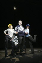 'THE PERMANENT WAY' (David Hare - director: Max Stafford-Clark   designer: William Dudley)~l-r: Bella Merlin, Lloyd Hutchinson (A Leading Entrepreneur), Flaminia Cinque~Out of Joint / National Theatre...