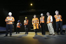 'THE PERMANENT WAY' (David Hare - director: Max Stafford-Clark   designer: William Dudley)~track workers:   centre - Kika Markham~Out of Joint / National Theatre co-production    Theatre Royal, York...