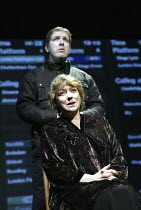 'THE PERMANENT WAY' (David Hare - director: Max Stafford-Clark   designer: William Dudley)~Kika Markham (A Widow) with Lloyd Hutchinson~Out of Joint / National Theatre co-production    Theatre Royal,...