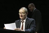 'THE PILLOWMAN' (Martin McDonagh - director: John Crowley)~Jim Broadbent (Tupolski) with Nigel Lindsay (Ariel)~Cottesloe Theatre / National Theatre, London SE1        13/11/2003