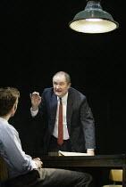 'THE PILLOWMAN' (Martin McDonagh - director: John Crowley)~l-r: David Tennant (Katurian), Jim Broadbent (Tupolski)~Cottesloe Theatre / National Theatre, London SE1        13/11/2003