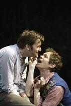'THE PILLOWMAN' (Martin McDonagh - director: John Crowley)~l-r: David Tennant (Katurian), Adam Godley (Michal)~Cottesloe Theatre / National Theatre, London SE1        13/11/2003