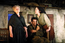 'THE PLAYBOY OF THE WESTERN WORLD' (Synge)~l-r: Sorcha Cusack (Widow Quinn), Patrick O'Kane (Christopher 'Christy' Mahon), Derbhle Crotty (Margaret Flaherty/'Pegeen Mike')~RNT/Cottesloe Theatre, Londo...
