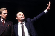 PRAVDA  written & directed by David Hare  set design: Hayden Griffin  costumes: Lindy Hemming <br>~l-r: Peter Blythe (Michael Quince, MP), Anthony Hopkins (Lambert le Roux),~Olivier Theatre, National...