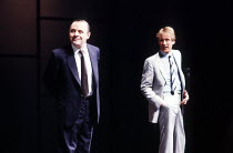 PRAVDA  written & directed by David Hare  set design: Hayden Griffin  costumes: Lindy Hemming <br>~l-r: Anthony Hopkins (Lambert le Roux), Bill Nighy (Eaton Sylvester)~Olivier Theatre, National Theatr...