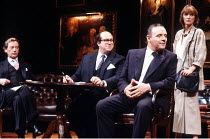 PRAVDA  written & directed by David Hare  set design: Hayden Griffin  costumes: Lindy Hemming <br>~l-r: Peter Blythe (Michael Quince, MP), Olivier Pierre (Lord Silk), Anthony Hopkins (Lambert le Roux)...
