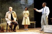 'A RAISIN IN THE SUN' (Hansberry) l-r: William Chubb (Karl Lindner), Cecilia Noble (Ruth Younger), Lennie James (Walter Lee Younger) Young Vic Theatre, London SE1   04/06/2001