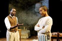 'A RAISIN IN THE SUN' (Hansberry) Ofo Uhiara (Joseph Asagai), Kananu Kirimi (Beneatha Younger)      Young Vic Theatre, London SE1   04/06/2001