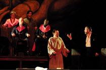 'RITUAL IN BLOOD' (Berkoff),Ian Peck (Sheriff John - seated, left), David Fleeshman (Rabbi Ben Barachyal - right),Nottingham Playhouse  31/05/2001,
