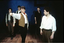 THE ROBBERS   by Friedrich Schiller   translated by R.J.Lamport   directed by Paul Miller,3rd from left (arm outstretched): Dominic Taylor (Karl Moor),London Stage Company / Grace at the Latchmere, Lo...
