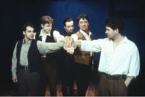THE ROBBERS   by Friedrich Schiller   translated by R.J.Lamport   directed by Paul Miller,4th from left: Dominic Taylor (Karl Moor),London Stage Company / Grace at the Latchmere, London SW11...