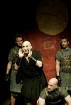 'THE ROMAN ACTOR' (Massinger)~l-r: Jamie Glover (First Tribune), Antony Sher (Domitian Caesar), (kneeling) Keith Osborn (Aelius Lamia), Billy Carter (Second Tribune)~RSC/Swan Theatre, Stratford-upon-A...