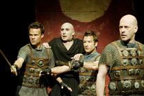'THE ROMAN ACTOR' (Massinger)~l-r: Jamie Glover (First Tribune), Antony Sher (Domitian Caesar), Billy Carter (Second Tribune), Keith Osborn (Aelius Lamia)~RSC/Swan Theatre, Stratford-upon-Avon...