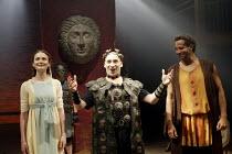 'THE ROMAN ACTOR' (Massinger)~front l-r: Anna Madeley (Domitia), Antony Sher (Domitian Caesar), Joe Dixon (Paris)~RSC/Swan Theatre, Stratford-upon-Avon                30/05/2002