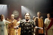 'THE ROMAN ACTOR' (Massinger)~left: Anna Madeley (Domitia)   centre: Antony Sher (Domitian Caesar)   2nd from right: Joe Dixon (Paris)~RSC/Swan Theatre, Stratford-upon-Avon                30/05/2002