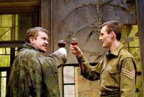 A RUSSIAN IN THE WOODS  by Peter Whelan  design: Simon Higlett  lighting: Rick Fisher  director: Robert Delamere <br> l-r: David Hinton (Dieter Stahl), Antony Flanagan (Pat Harford) Royal Shakespear...