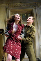 A RUSSIAN IN THE WOODS  by Peter Whelan  design: Simon Higlett  lighting: Rick Fisher  director: Robert Delamere <br> Anna Madeley (Isle Bucher), Antony Flanagan (Pat Harford) Royal Shakespeare Comp...