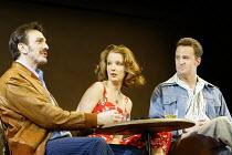 'SEXUAL PERVERSITY IN CHICAGO' (Mamet - director: Lindsay Posner)~l-r: Hank Azaria (Bernie), Kelly Reilly (Deborah), Matthew Perry (Danny)~Comedy Theatre, London SW1                14/05/2003