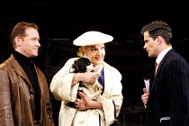 'STAR QUALITY' (Coward)~l-r: Russell Boulter (Ray Malcolm), Penelope Keith (Lorraine Barrie - with Jasper as 'Bothwell'), Nick Fletcher (Bryan Snow)~Apollo Theatre, London W1                      29/1...
