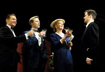 'STAR QUALITY' (Coward)~l-r: Russell Boulter (Ray Malcolm), Nick Waring (Tony Orford), Penelope Keith (Lorraine Barrie), Nick Fletcher (Bryan Snow)~Apollo Theatre, London W1                      29/10...