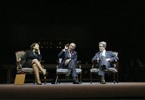 l-r: Adjoa Andoh (Condoleeza Rice), Joe Morton (Colin Powell), Alex Jennings (George W Bush) in STUFF HAPPENS by David Hare at the Olivier Theatre, National Theatre (NT), London SE1  10/09/2004~design...