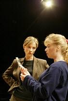 'SUGAR DADDIES' (author/director: Alan Ayckbourn)~l-r: Anna Brecon (Chlo'), Alison Pargeter (Sasha)~Stephen Joseph Theatre, Scarborough                              22/07/2003