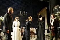 'THREE SISTERS' (Chekhov/Hampton   director: Michael Blakemore)~l-r: Robert Bathurst (Vershinin), Madeleine Worrall (Irina), (rear) Tom Beard (Solyony), Kate Burton (Olga), Kristin Scott Thomas (Masha...