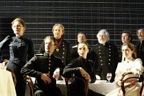 'THREE SISTERS' (Chekhov/Hampton   director: Michael Blakemore)~l-r: Kate Burton (Olga), (front) Tobias Menzies (Tufenbach), Robert Bathurst (Vershinin), Kristin Scott Thomas (Masha), (behind) Tom Bea...
