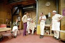 'TOAST' (Richard Bean - director: Richard Wilson) l-r: Christopher Campbell, Ian Dunn, Matthew Dunster, Paul Wyett, Ewan Hooper, Mark Williams, Sam Kelly Royal Court Theatre Upstairs / Ambassadors T...