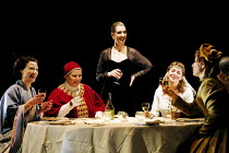 TOP GIRLS by Caryl Churchill~l-r: Helen Anderson (Lady Nijo), Joanna Scanlan (Pope Joan), Hattie Ladbury (Marlene), Sophie Shaw (Patient Griselda), Elizabeth Berrington (Isabella Bird)~Oxford Stage Co...