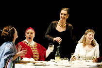 TOP GIRLS by Caryl Churchill~l-r: Helen Anderson (Lady Nijo), Joanna Scanlan (Pope Joan), Hattie Ladbury (Marlene), Sophie Shaw (Patient Griselda)~Oxford Stage Company / Aldwych Theatre, London WC2 09...