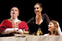 TOP GIRLS by Caryl Churchill~l-r: Joanna Scanlan (Pope Joan), Hattie Ladbury (Marlene), Sophie Shaw (Patient Griselda)~Oxford Stage Company / Aldwych Theatre, London WC2 09/01/2002~(c) Donald Cooper/P...
